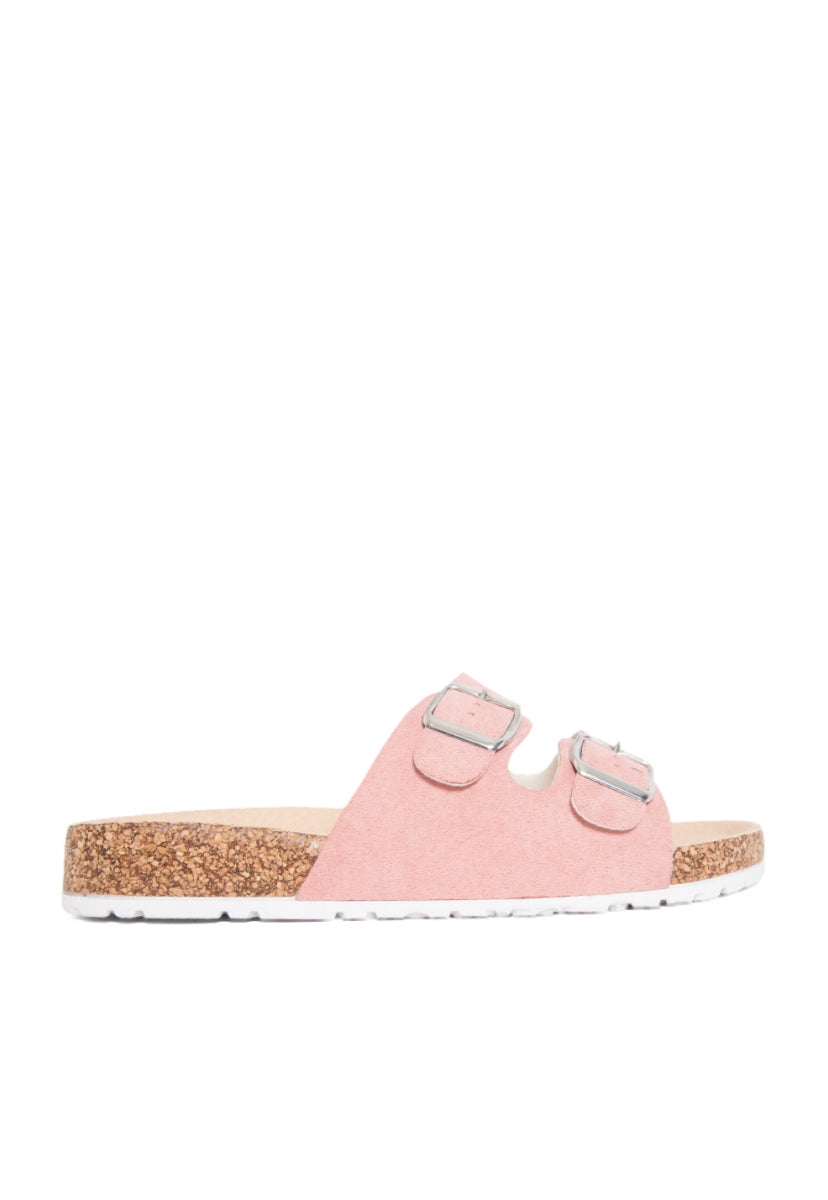 Vista Double Buckle Slide Sandals in Blush - Shoes - Wetseal
