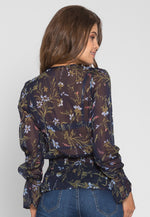 Spring Waters Chiffon Floral Blouse in Navy