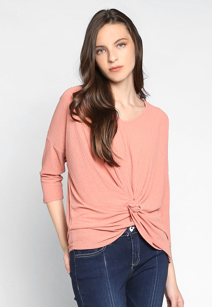 Always Fun Knot Front Blouse in Pink - Shirts & Blouses - Wetseal