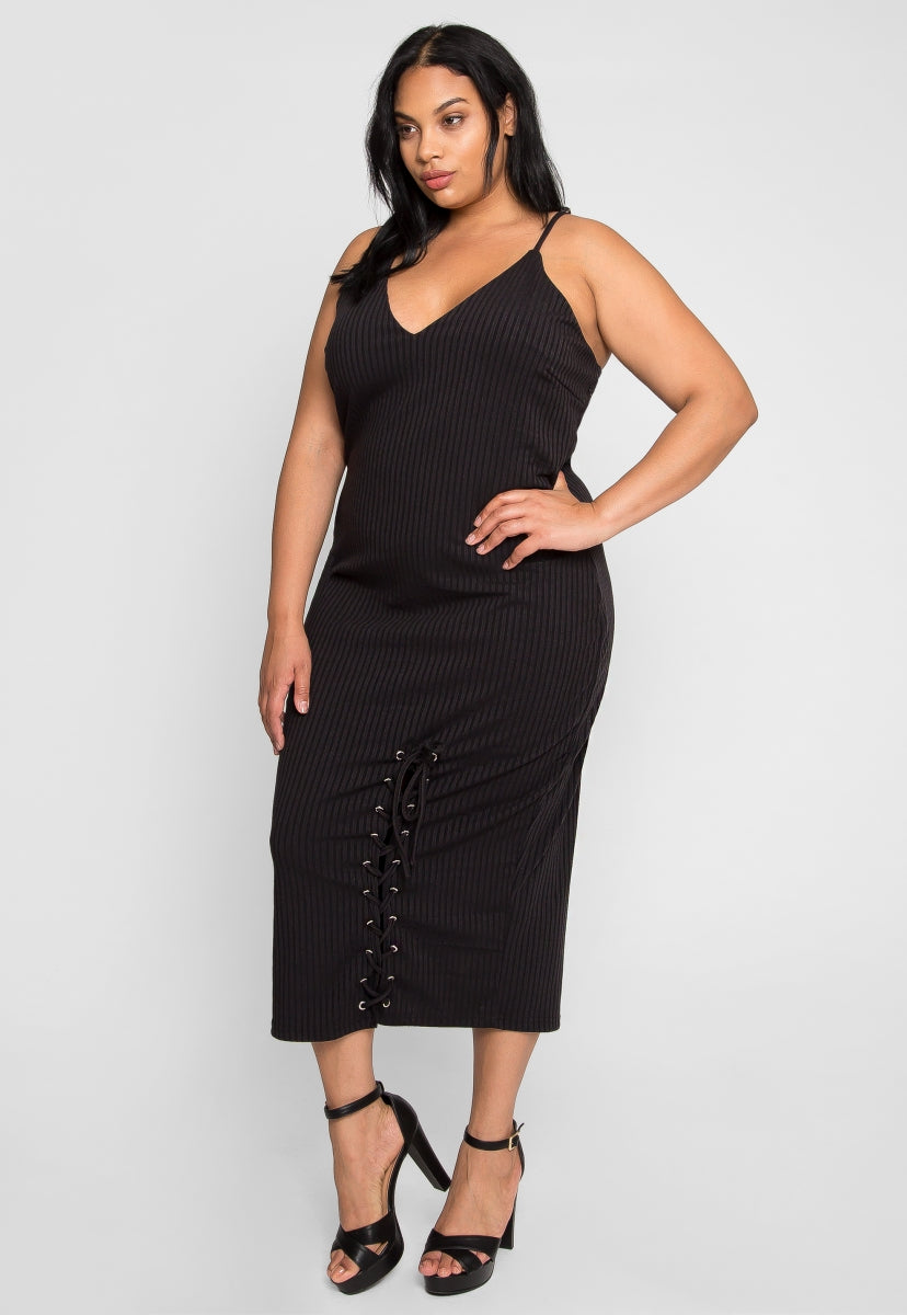 Plus Size Hold Your Hand Lace Up Midi Dress