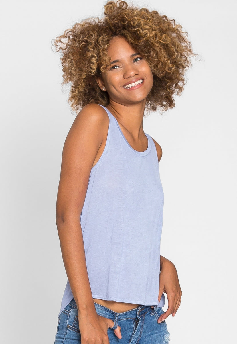 Soft Knit Tank Top in Blue - Tanks - Wetseal
