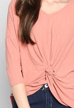 Always Fun Knot Front Blouse in Pink