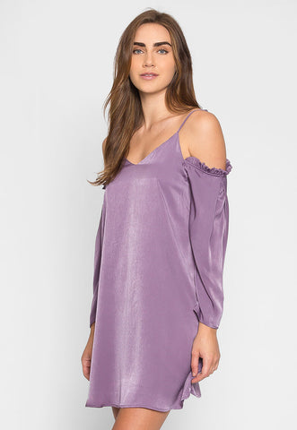 Aroma Cold Shoulder Satin Dress