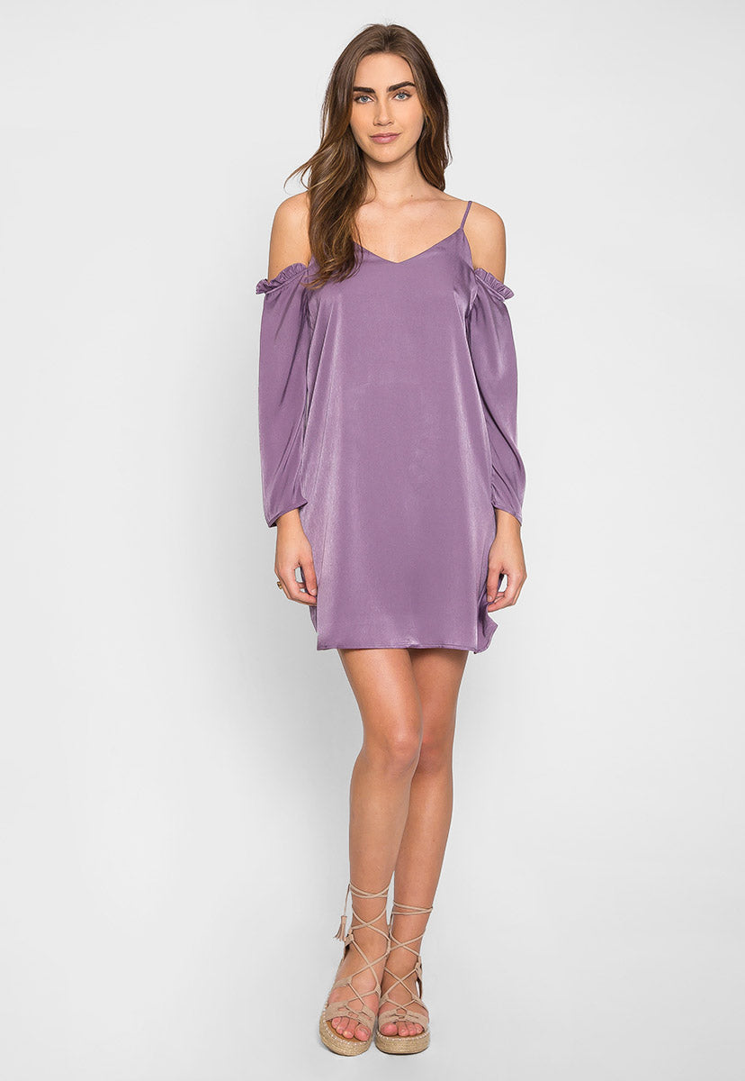 Aroma Cold Shoulder Satin Dress - Dresses - Wetseal
