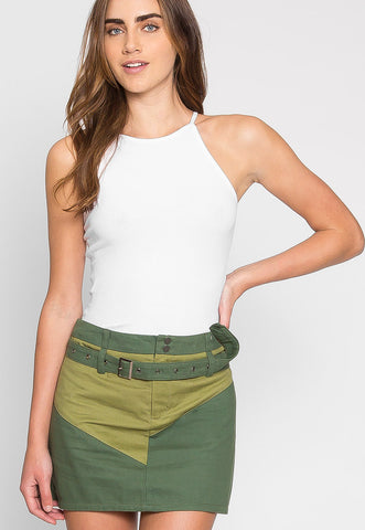 Colorblock Twill Mini Skirt