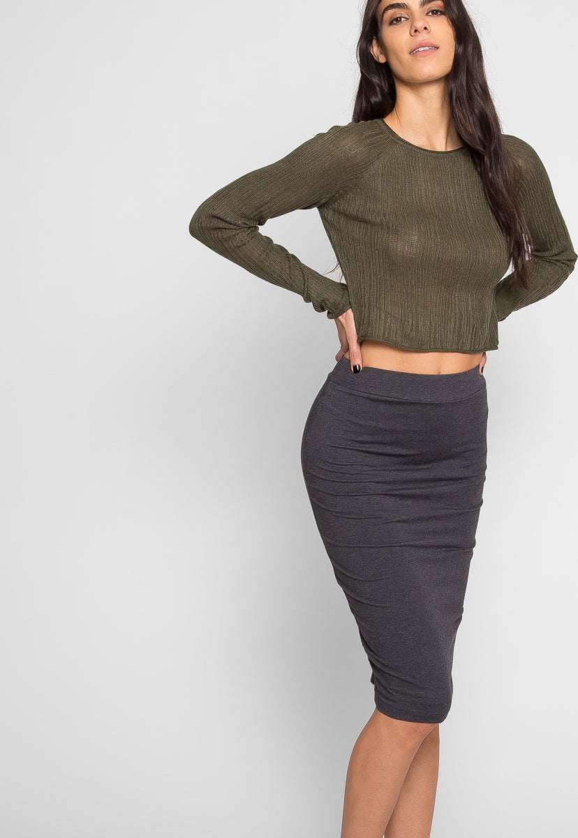 Totally Right Fitted Skirt in Charcoal - Skirts - Wetseal
