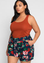 Plus Size So Nice Floral Shorts in Navy