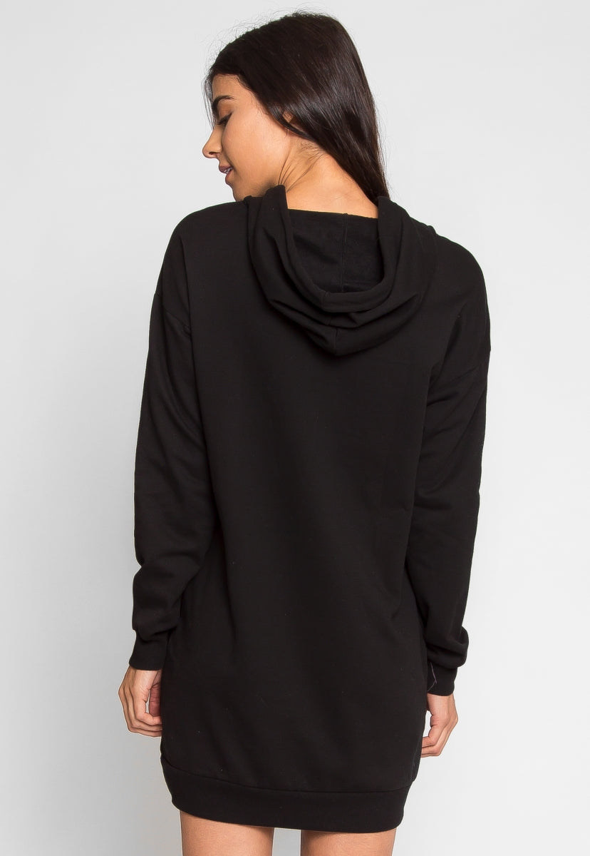 Match Hoodie Sweatshirt Dress in Black - Dresses - Wetseal