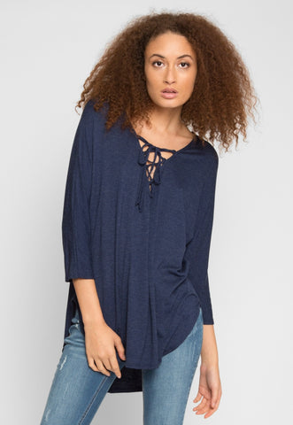 Holland Lace Up Longline Top in Navy