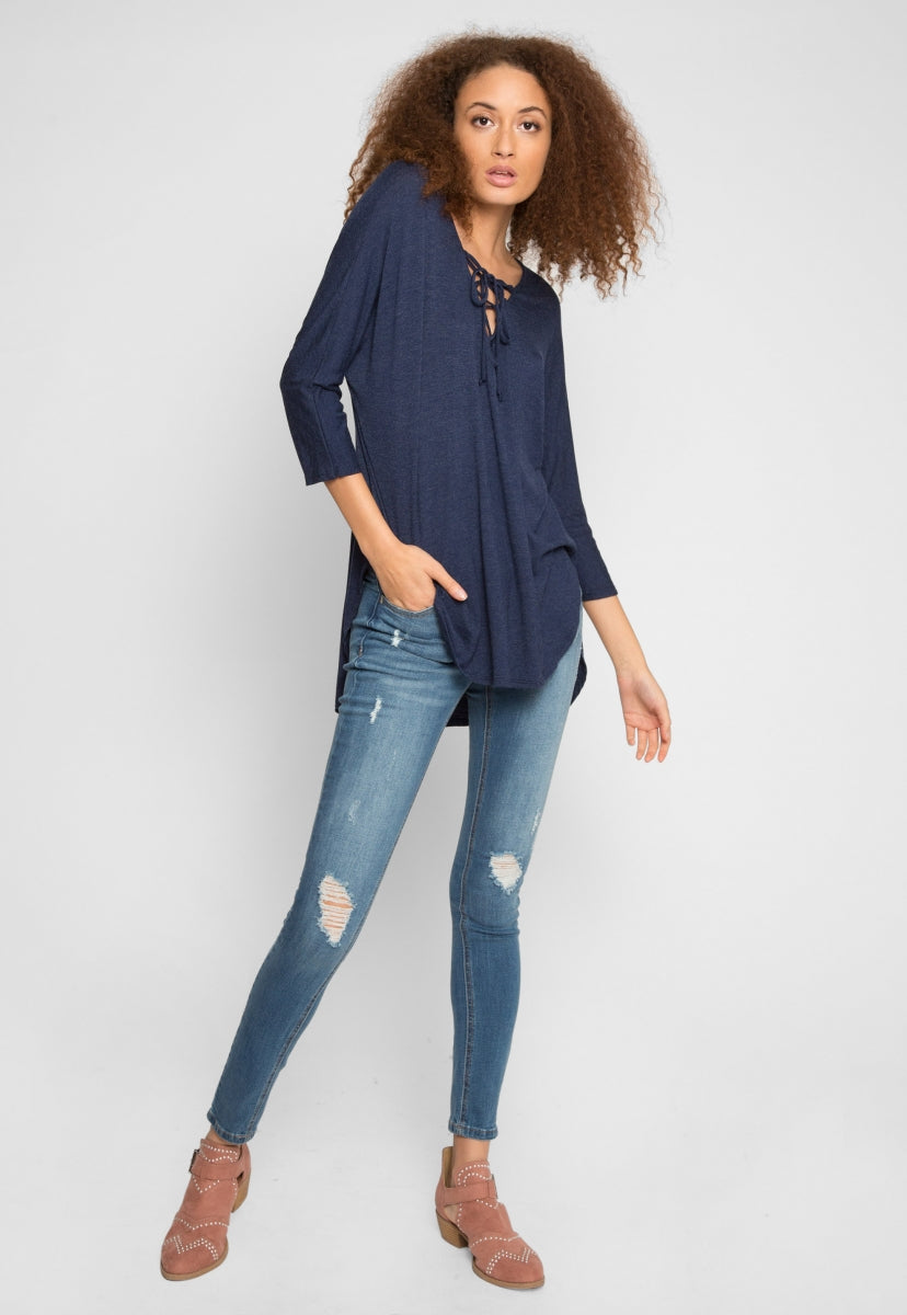 Holland Lace Up Longline Top in Navy - Shirts & Blouses - Wetseal