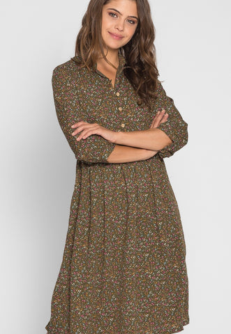 Addie Floral Midi Dress in Olive