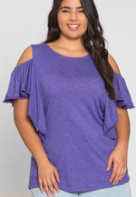 Plus Size Darling Trim Blouse in Purple