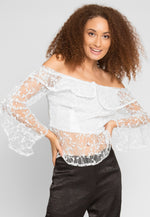 Sweet Kiss Embroidered Mesh Top in White