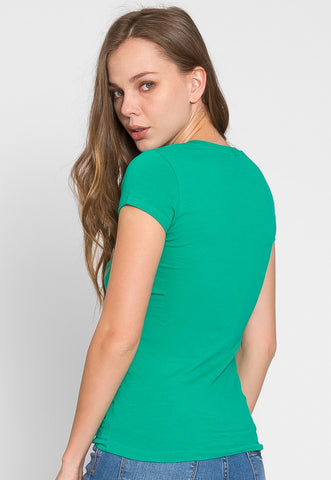 Chill V-Neck Basic Tee in Green