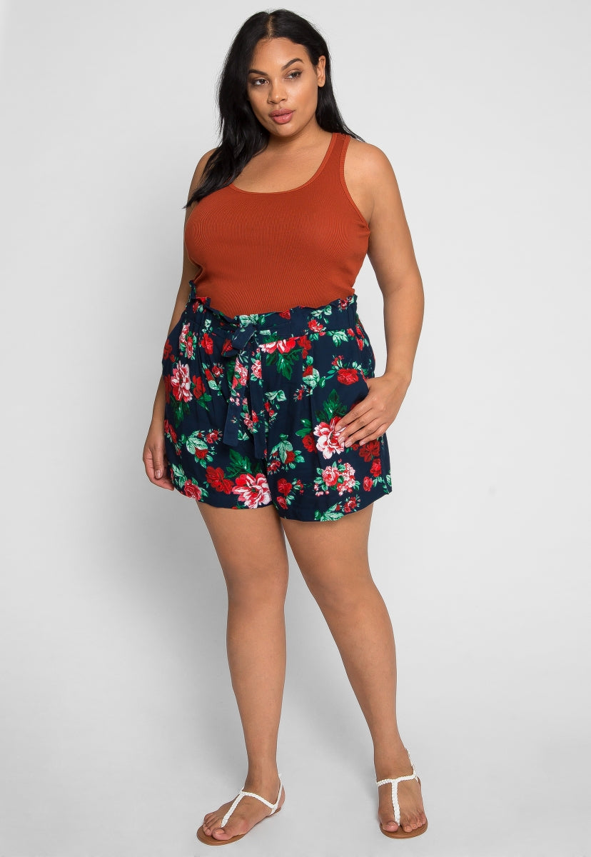 Plus Size So Nice Floral Shorts in Navy - Plus Bottoms - Wetseal