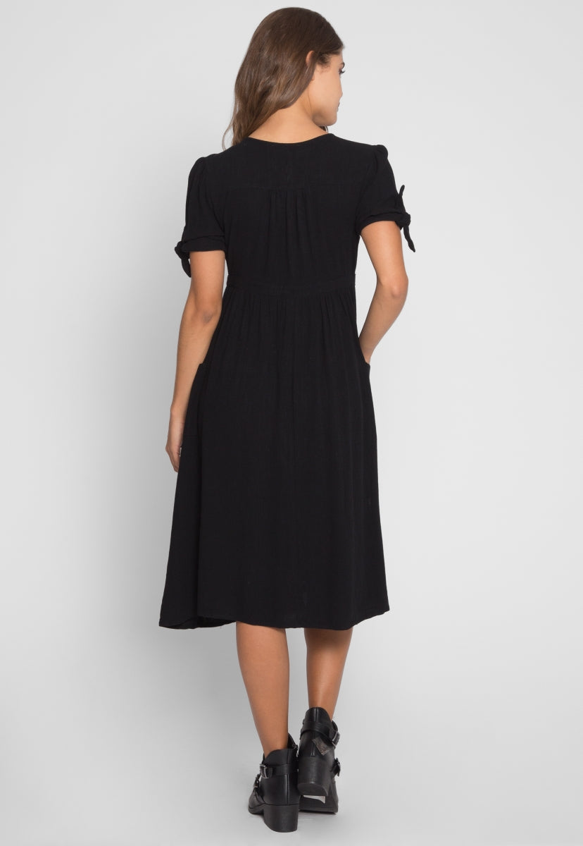 Magnolia Button Front Midi Dress in Black - Dresses - Wetseal