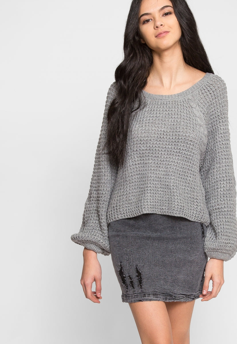 Arrows Oversized Crop Sweater - Sweaters & Sweatshirts - Wetseal