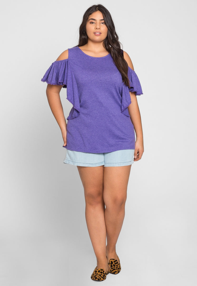 Plus Size Darling Trim Blouse in Purple - Plus Tops - Wetseal