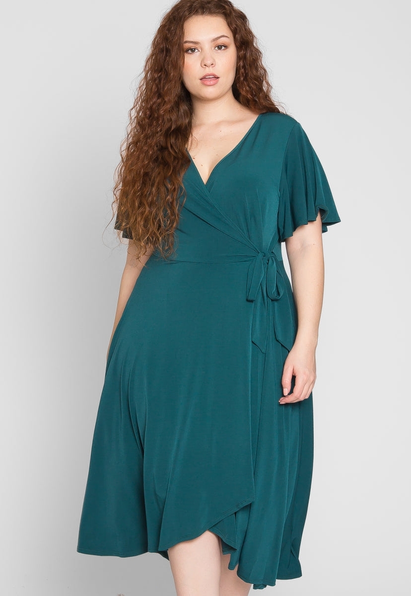 Plus Size Flutter Sleeve Wrap Midi Dress