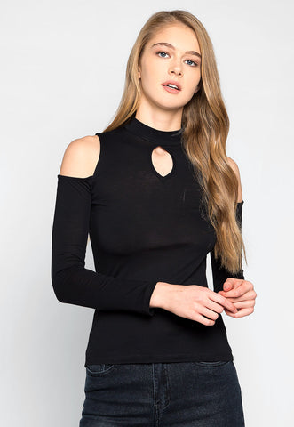 Follow Me Mock Neck Top in Black