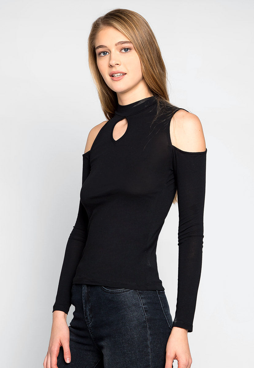 Follow Me Mock Neck Top in Black - Shirts & Blouses - Wetseal
