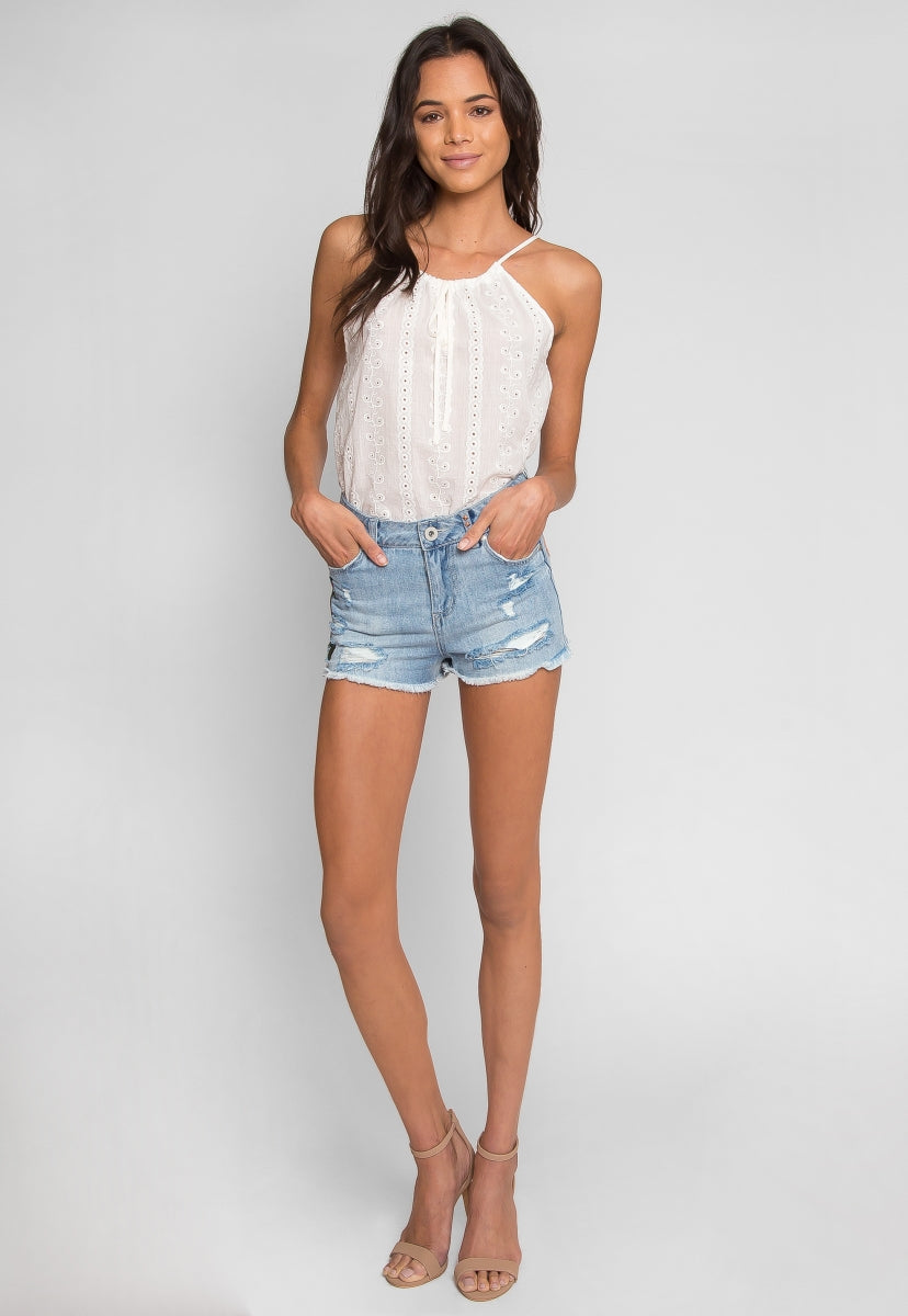 Alpine Patch Denim Shorts - Short - Wetseal