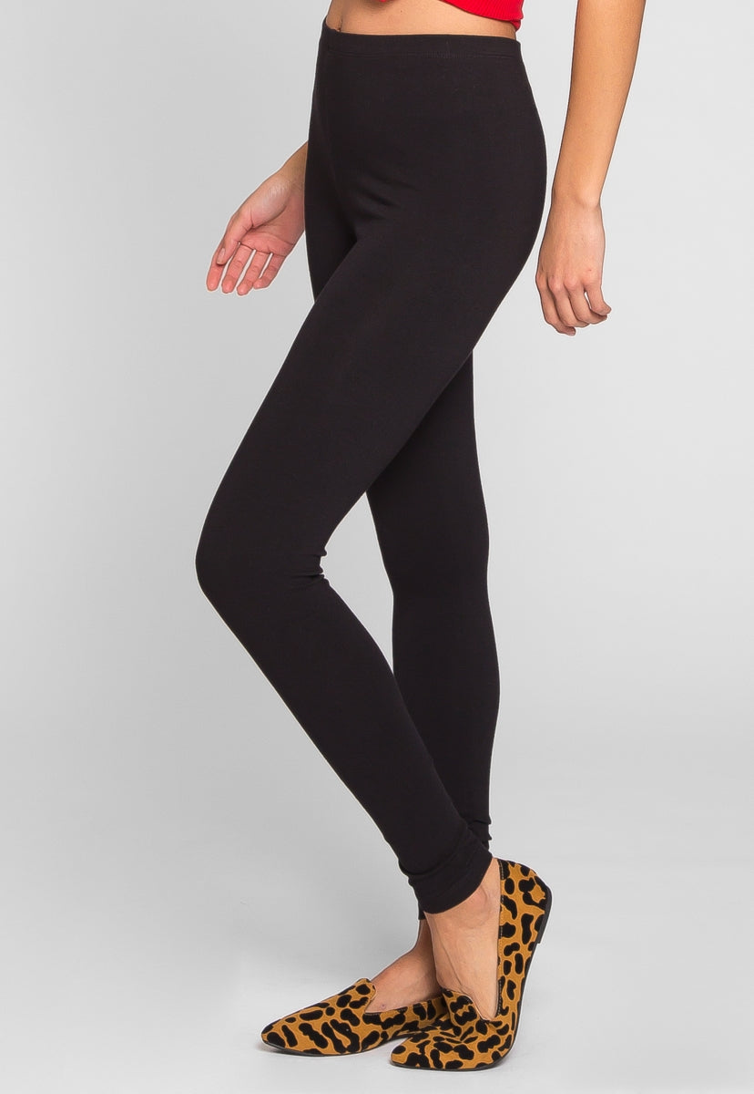 Janis Cotton Leggings in Black - Pants - Wetseal