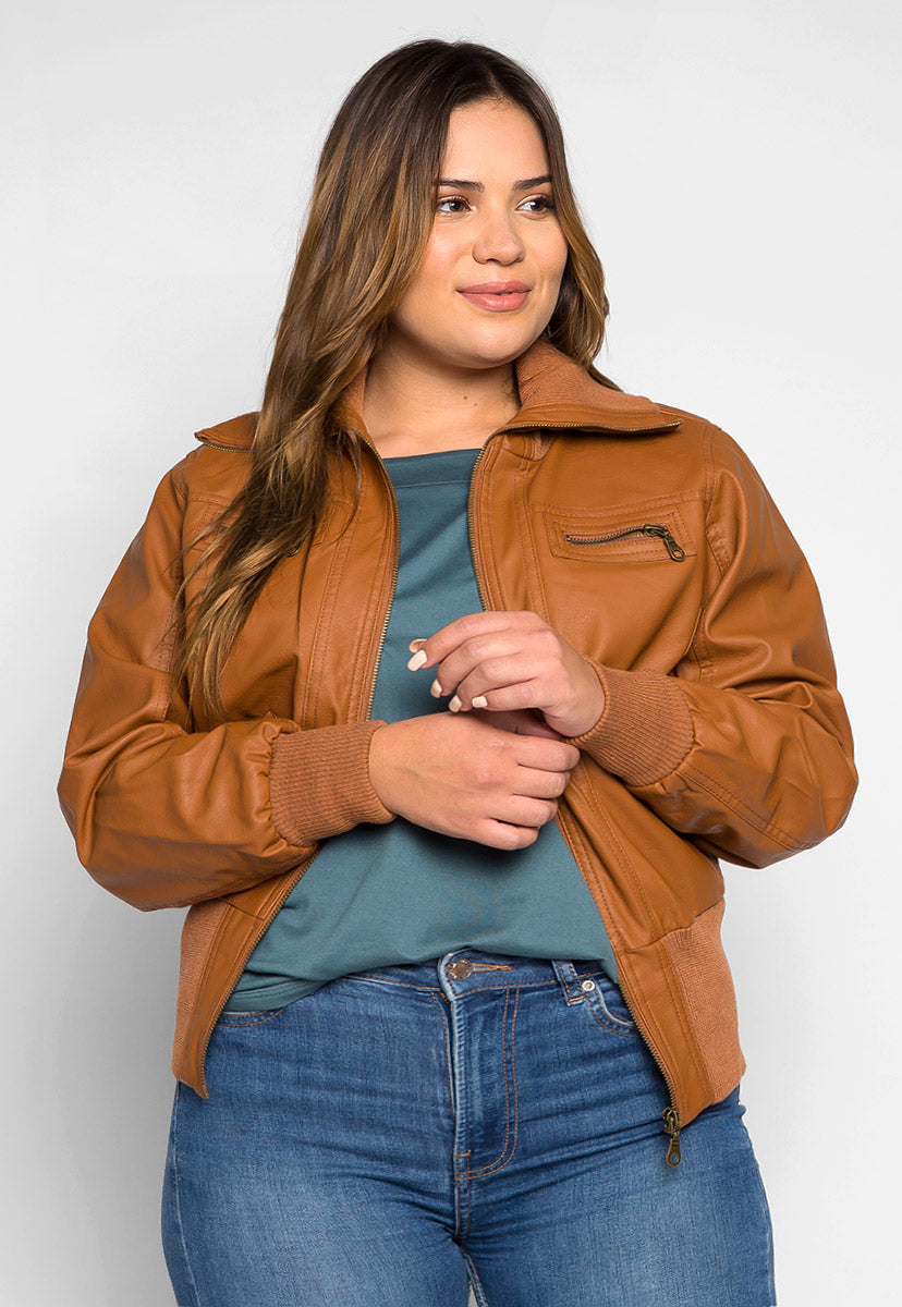 Plus Size Toffee Faux Leather Jacket - Plus Outerwear - Wetseal