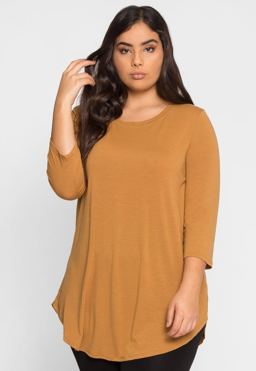 Plus Size Sky Top in Brown - Plus Tops - Wetseal