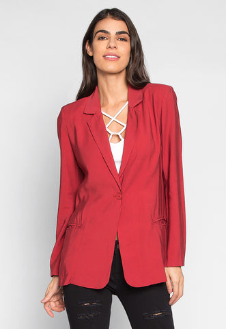 Wine Tasting One Button Boyfriend Blazer