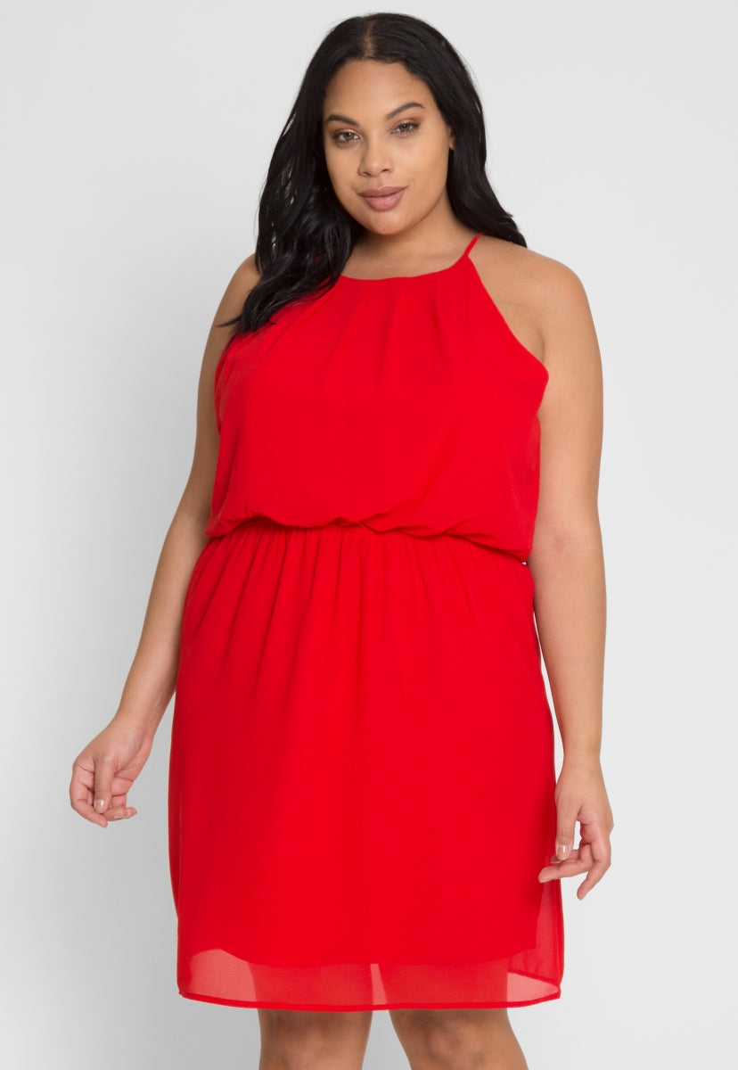 Plus Size Paris Pleated Party Dress in Red - Plus Dresses - Wetseal
