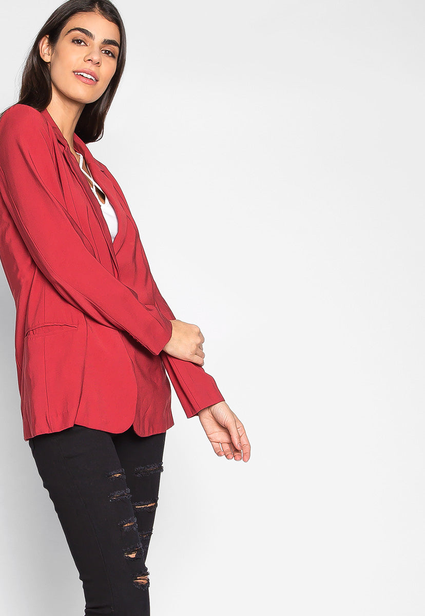 Wine Tasting One Button Boyfriend Blazer - Jackets & Coats - Wetseal