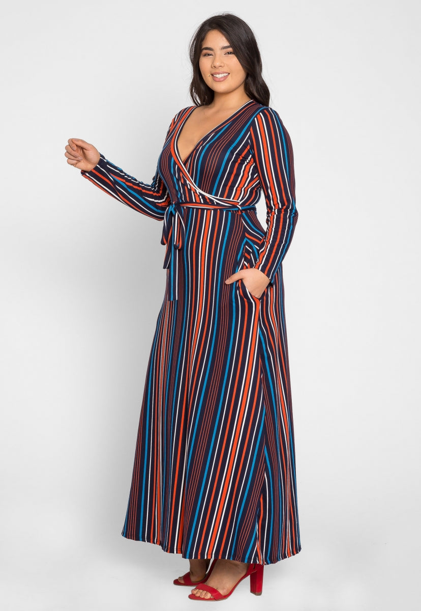 Plus Size Sahara Stripe Maxi Dress in Navy