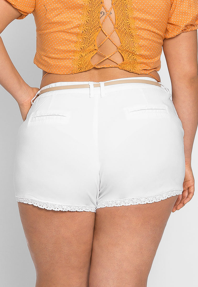 Plus Size Caribbean Crochet Trim Shorts - Plus Bottoms - Wetseal