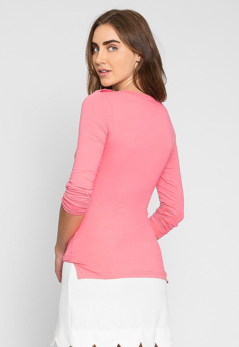Casual Day Henley Top in Pink - Shirts & Blouses - Wetseal