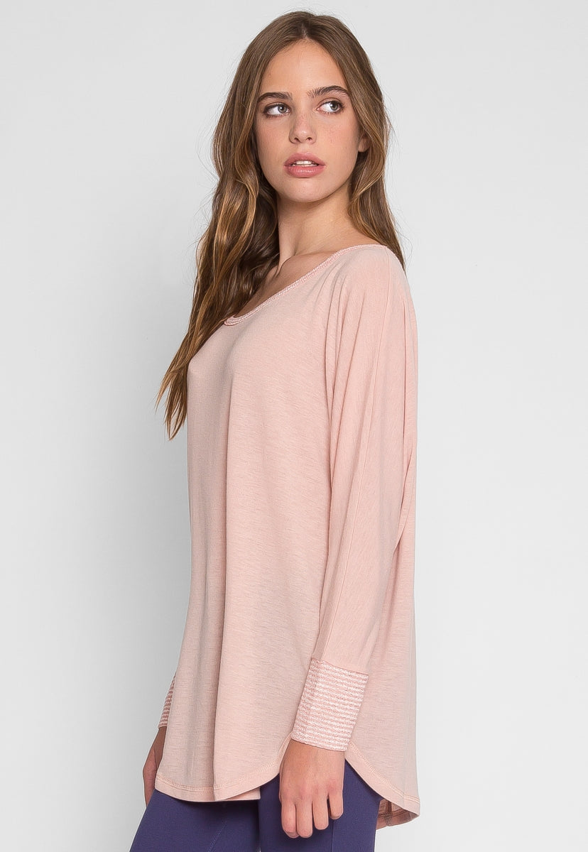 Slumber Dolman Sleeve Knit Top in Blush - Shirts & Blouses - Wetseal