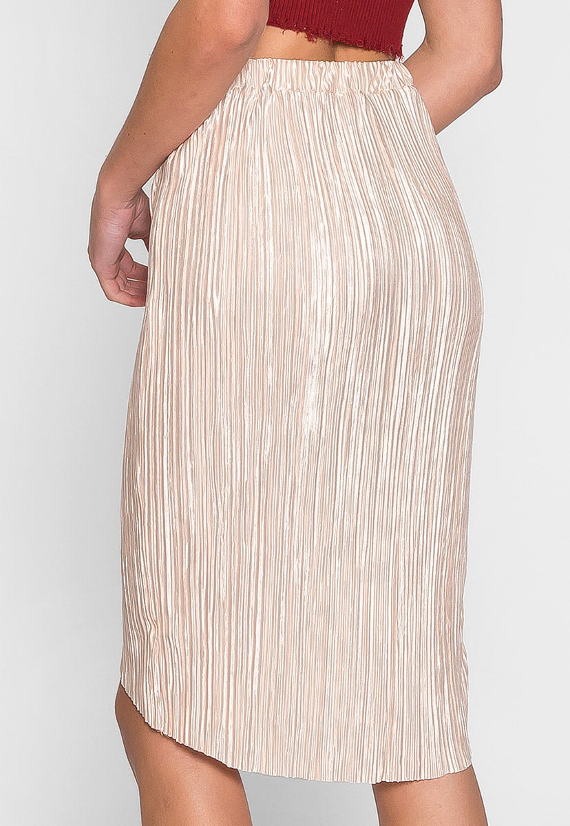 Metallic Pleated Tulip Skirt in Beige - Skirts - Wetseal