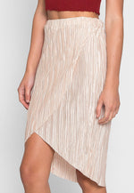 Metallic Pleated Tulip Skirt in Beige