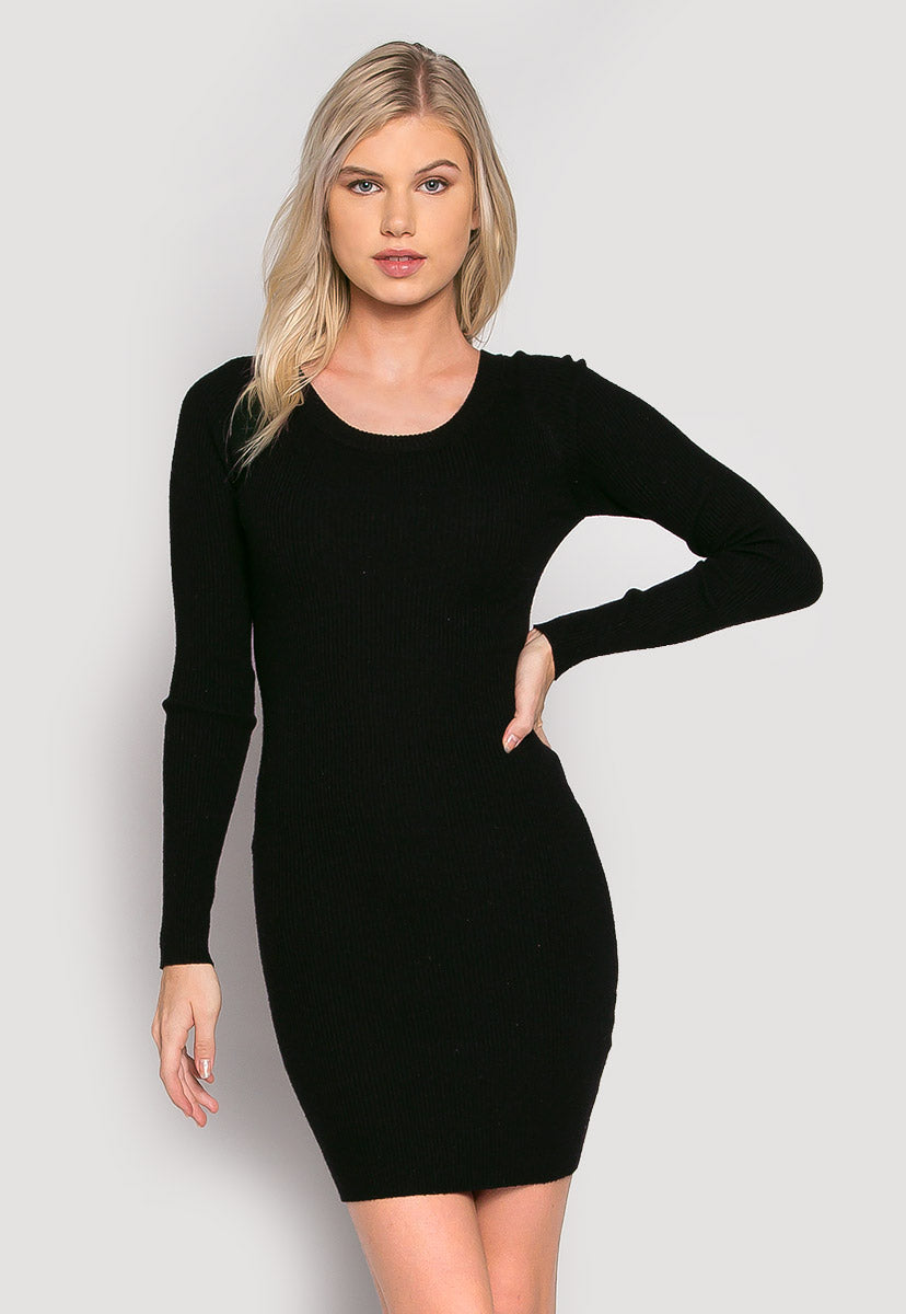 Risky Girl Ribbed Knit Dress in Black - Dresses - Wetseal