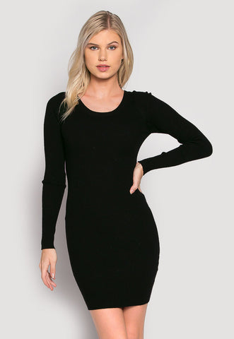 Risky Girl Ribbed Knit Dress in Black