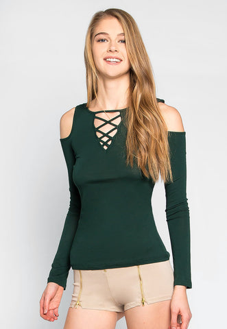 Heart of Glass Cold Shoulder Top in Green