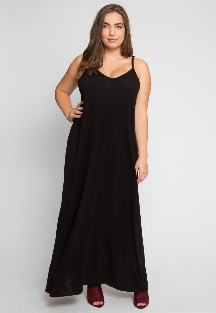 Plus Size Gust Maxi Dress in Black - Plus Dresses - Wetseal