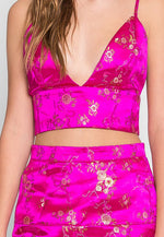 Brocade Two Piece Set in Pink