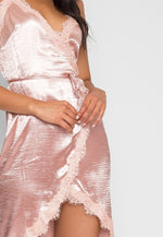 Mercury Satin Wrap Dress in Blush