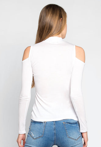 Follow Me Mock Neck Top in White