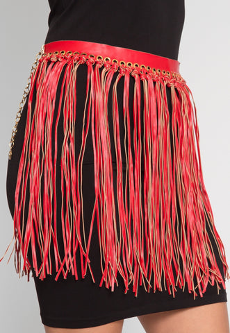 Festival Fringe Faux Leather Belt in Red