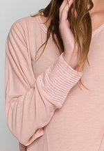 Slumber Dolman Sleeve Knit Top in Blush