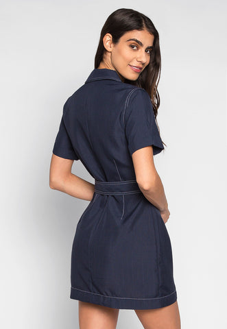Feeling Lucky Button Front Mini Dress In Navy