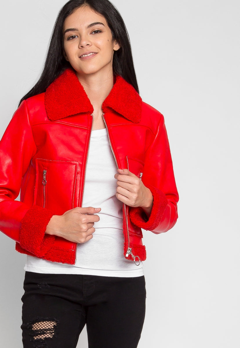 All Stars Luxe Bomber Jacket in Red - Jackets & Coats - Wetseal