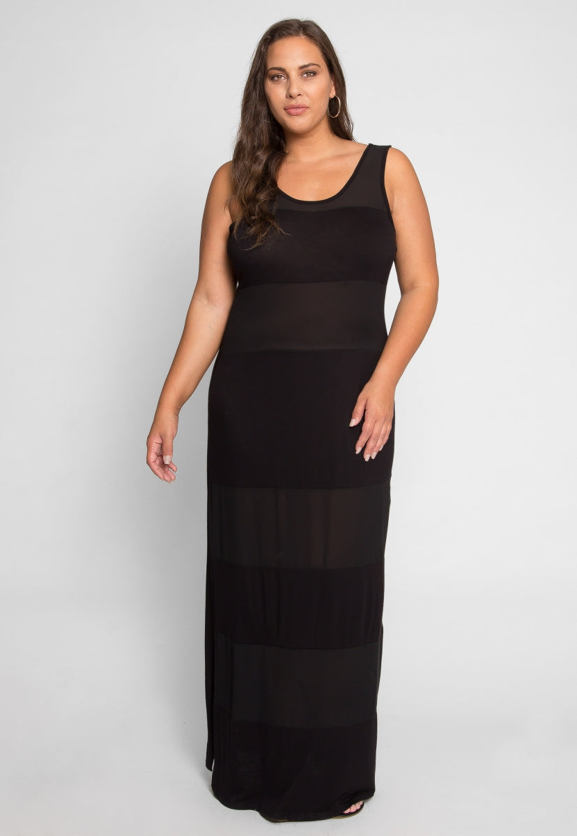 Plus Size Midnight Stripe Maxi Dress